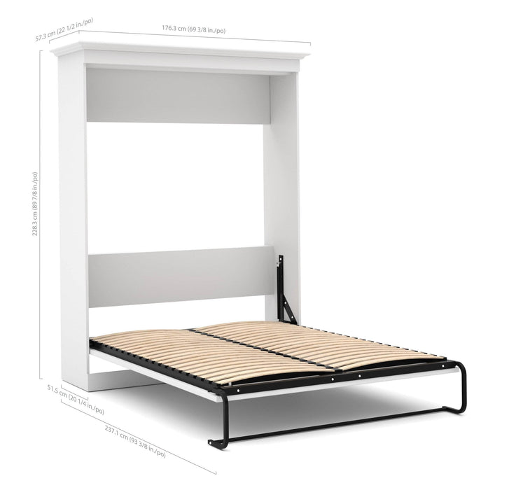 "Pending - Bestar Queen Murphy Bed White Versatile Queen Murphy Bed and 1 Storage Unit with Drawers (101"") - White"