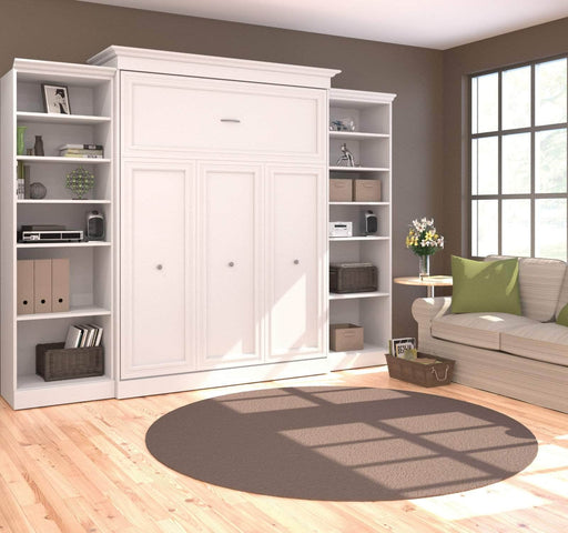 "Pending - Bestar Queen Murphy Bed White Versatile Queen Murphy Bed and 2 Storage Units (115"") - White"