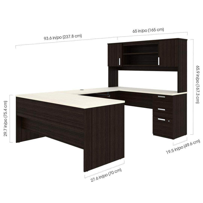 Pending - Bestar Ridgeley U-Shaped Desk with Pedestal and Hutch - Available in 2 Colours