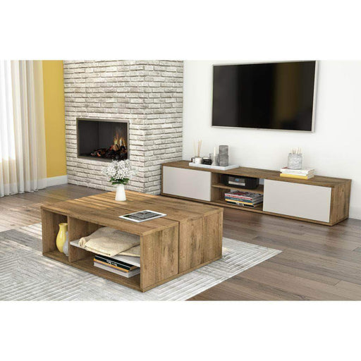 Pending - Bestar Rustic Brown & Sandstone Fom TV Stand and Coffee Table Set - Available in 2 Colors