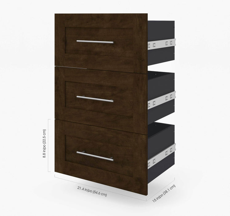 Pending - Bestar Shelves Drawers and Doors Pur 3 Drawer Set for Pur 25W Storage Unit - Available in 3 Colours