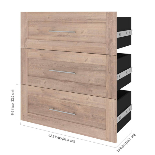 "Pending - Bestar Shelves Drawers and Doors Pur 3-Drawer Set for Pur 36"" Closet Organizer - Available in 4 Colours"