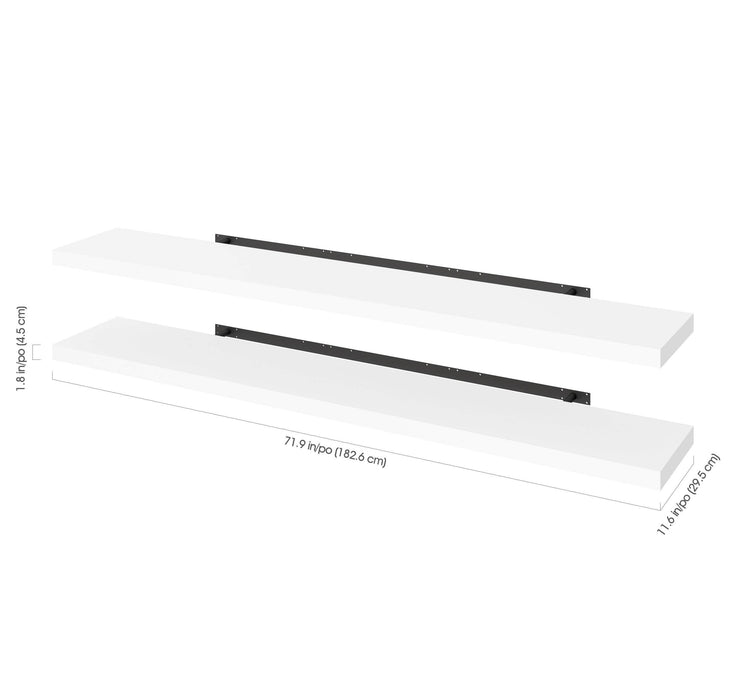 "Pending - Bestar Shelves Drawers and Doors Universel 2-Piece Set Including 12"" x 72"" High Quality Floating Shelves - Available in 3 Colors"