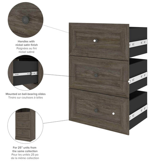 "Pending - Bestar Shelves Drawers and Doors Versatile 3-Drawer Set for Versatile 25"" Storage Unit - Available in 3 Colors"