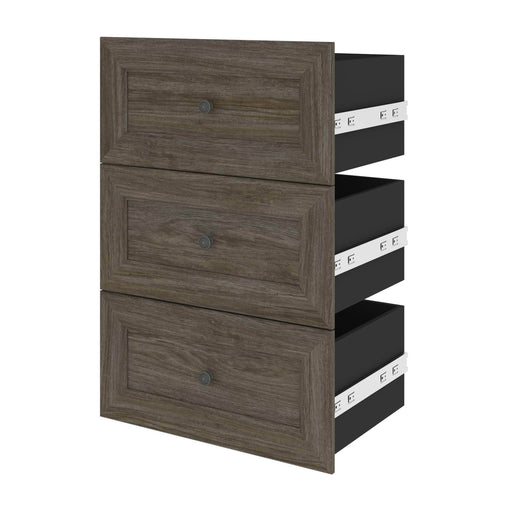 "Pending - Bestar Shelves Drawers and Doors Walnut Grey Versatile 3-Drawer Set for Versatile 25"" Storage Unit - Available in 3 Colours"