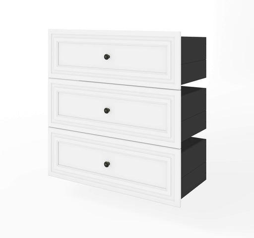 "Pending - Bestar Shelves Drawers and Doors White Versatile 3-Drawer Set for Versatile 36"" Storage Unit - Available in 2 Colours"
