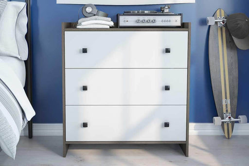 Sirah 3 Drawer Dresser - Bark Grey & White