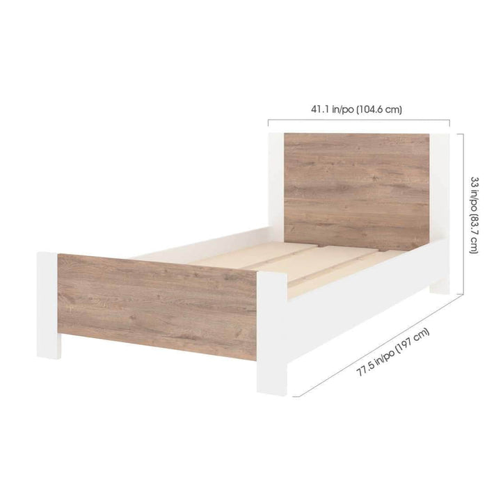 Pending - Bestar Sirah Twin Platform Bed - Rustic Brown & White