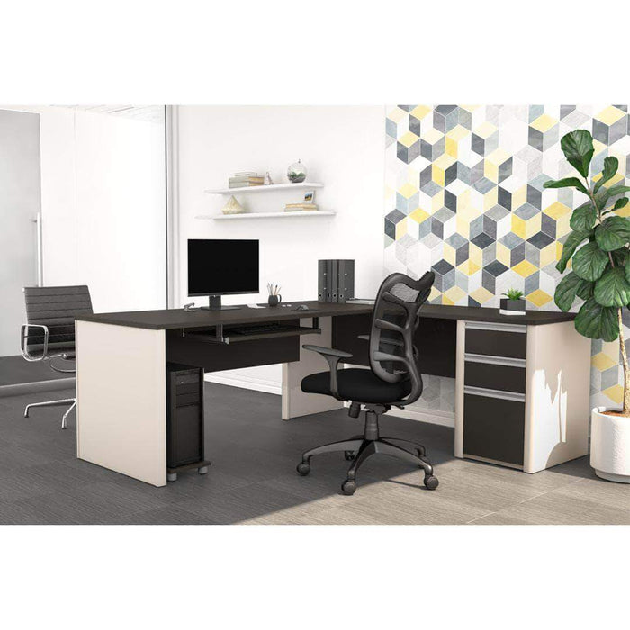 Pending - Bestar Slate & Sandstone Connexion L-Shaped Desk with Pedestal - Available in 3 Colours
