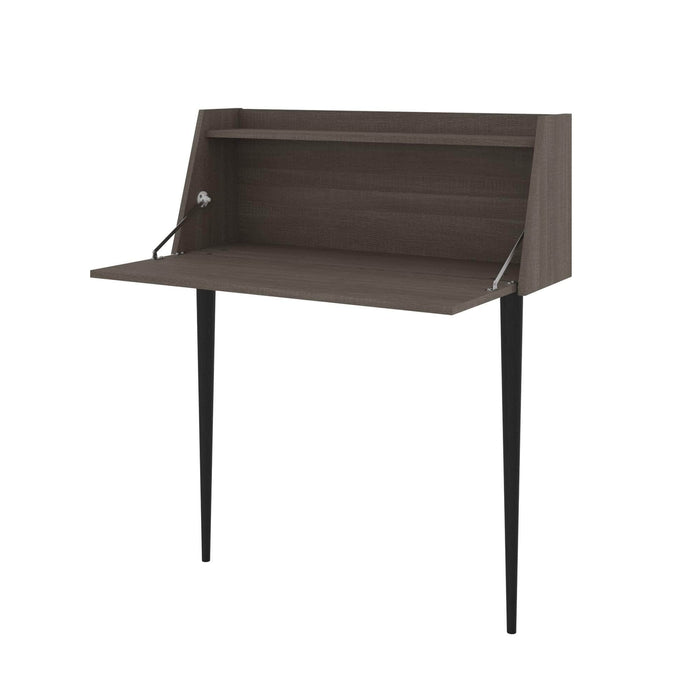 Pending - Bestar Small Desk Bark Grey Skat Secretary Desk - Available in 3 Colors