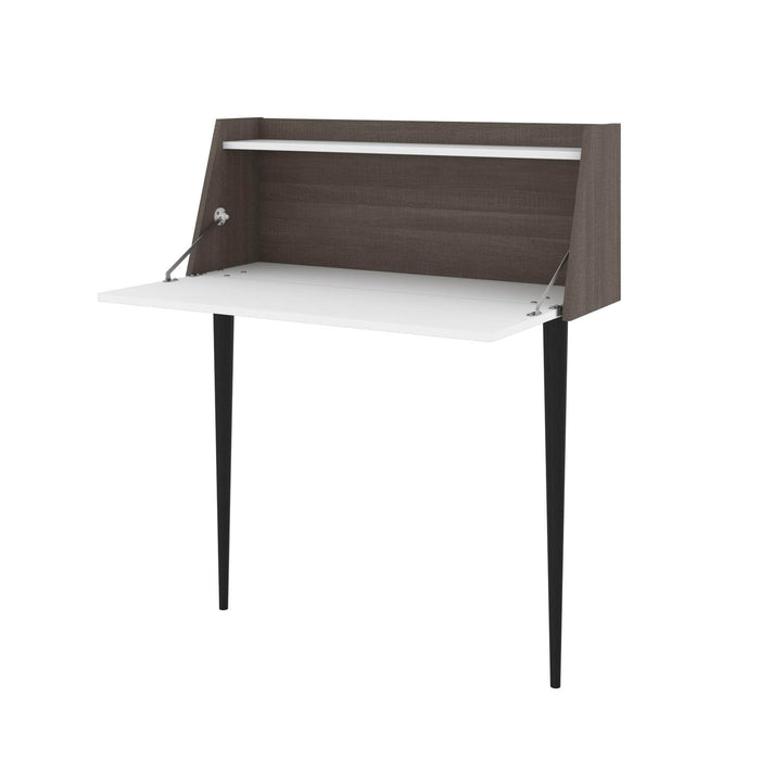 Pending - Bestar Small Desk White & Bark Grey Skat Secretary Desk - Available in 3 Colors