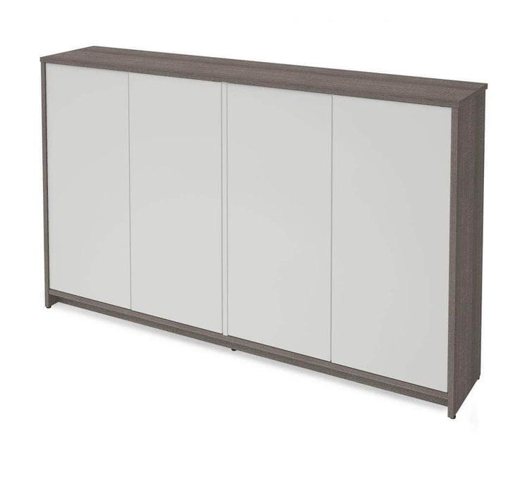 "Pending - Bestar Small Space 60"" Storage Cabinet - Bark Grey & White"