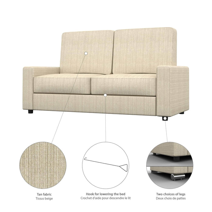 Pending - Bestar Sofa Murphy Bed Pur Full Murphy Bed, 2 Storage Units and a Sofa - Available in 2 Colours