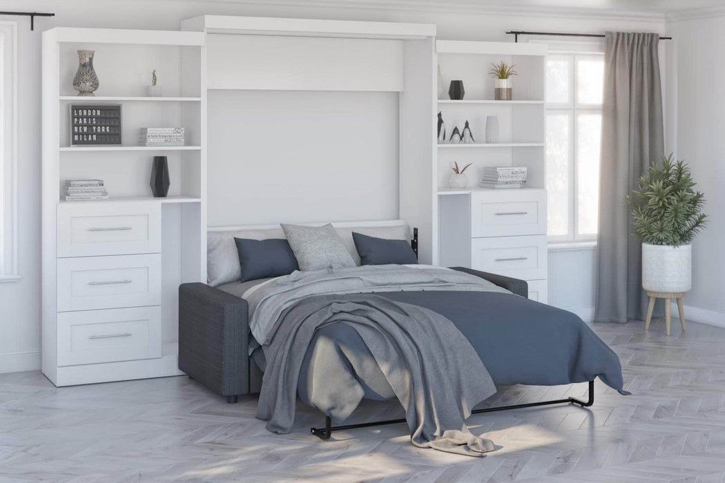 Modubox Sofa Murphy Bed Pur Queen Murphy Bed, 1 Sofa and 2 Storage Units with Drawers - Available in 2 Colors