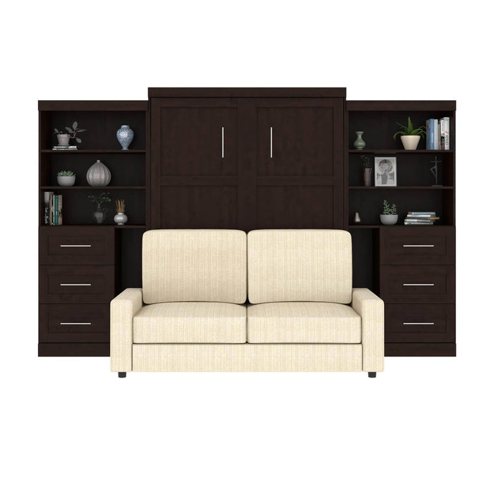 Pur Queen Murphy Wall Bed, 1 Sofa and 2 Storage Units with Drawers - Available in 2 Colors