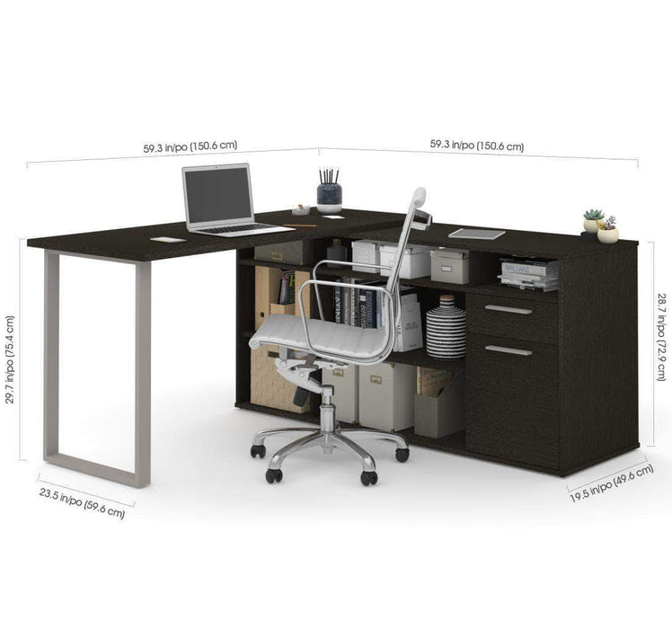 Pending - Bestar Solay L-Shaped Desk - Available in 4 Colors