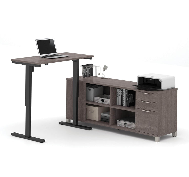 Pending - Bestar Standing Desk Bark Grey Pro-Linea 2-Piece Set Including a Standing Desk and a Credenza - Available in 3 Colors