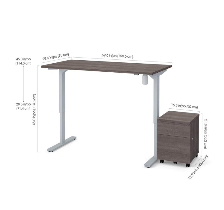 "Pending - Bestar Standing Desk Bark Grey Universel 2-Piece set including 30"" x 60"" standing desk and a mobile pedestal - Bark Grey"