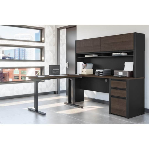 Pending - Bestar Standing Desk Connexion 2-Piece set including a standing desk and a desk with hutch - Available in 3 Colors