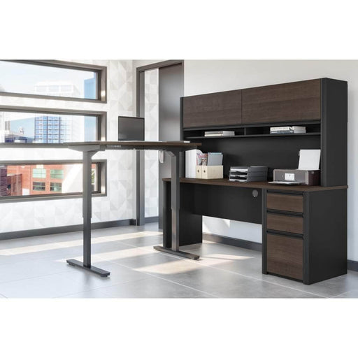 Pending - Bestar Standing Desk Connexion 2-Piece set including a standing desk and a desk with hutch - Available in 3 Colours