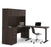 Pending - Bestar Standing Desk Dark Chocolate Embassy 2-Piece Set including a Standing Desk and a Desk with Hutch - Dark Chocolate