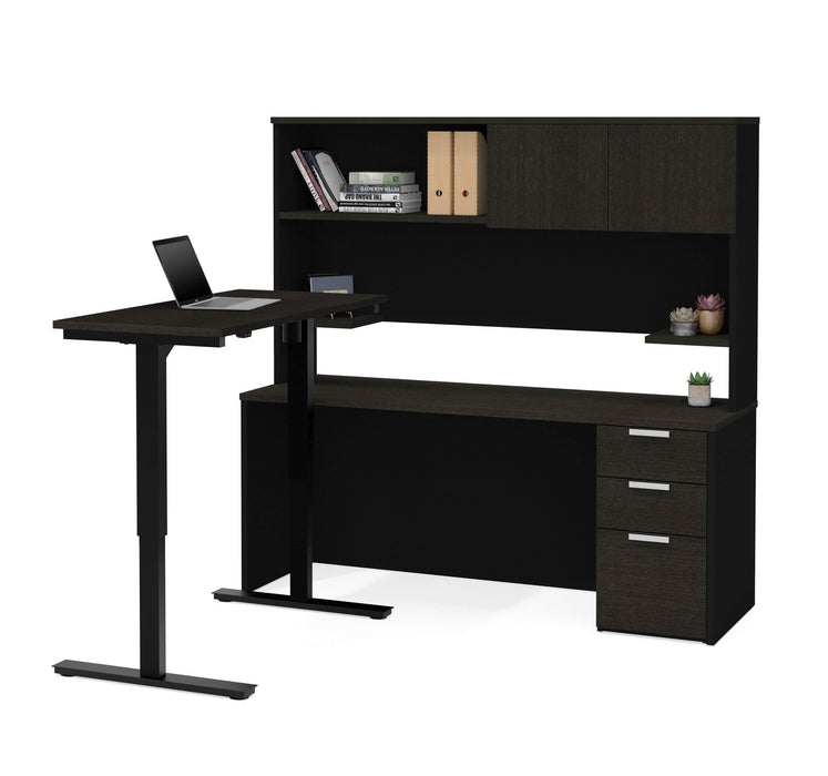 Pending - Bestar Standing Desk Deep Grey & Black Pro-Concept Plus 2-Piece Set Including a Standing Desk and a Desk with Hutch - Available in 2 Colors