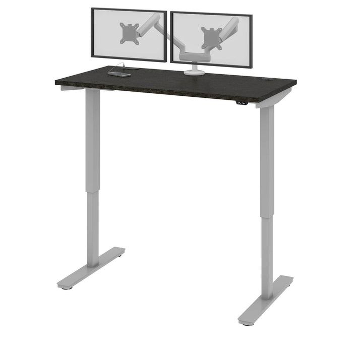 "Pending - Bestar Standing Desk Deep Grey Upstand 24"" x 48"" Standing Desk with Dual Monitor Arm - Available in 4 Colours"