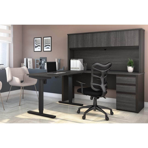 Pending - Bestar Standing Desk Prestige + 2-Piece Set Including a Standing Desk and a Desk with Hutch - Available in 3 Colours