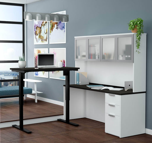 Pending - Bestar Standing Desk Pro-Concept Plus 2-Piece set including a standing desk and a desk with hutch - Available in 2 Colours - 1