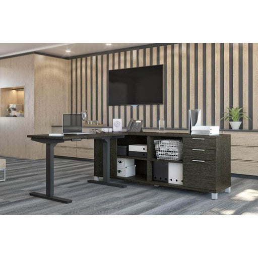 Pending - Bestar Standing Desk Pro-Linea 2-Piece Set Including a Standing Desk and a Credenza - Available in 3 Colours