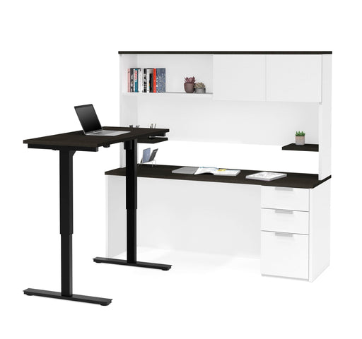 Pending - Bestar Standing Desk White & Deep Grey Pro-Concept Plus 2-Piece Set Including a Standing Desk and a Desk with Hutch - Available in 2 Colours