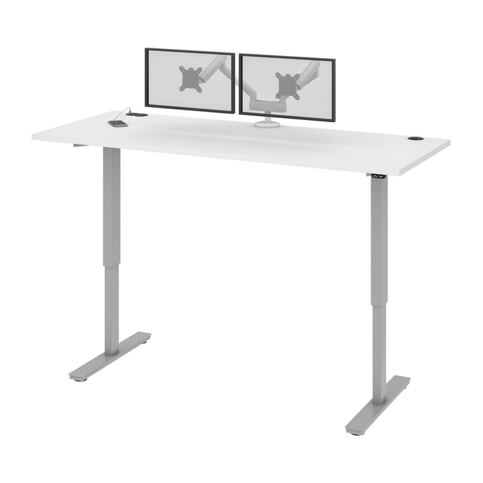 "Pending - Bestar Standing Desk White Upstand 30"" x 72"" Standing Desk with Dual Monitor Arm - Available in 4 Colours"