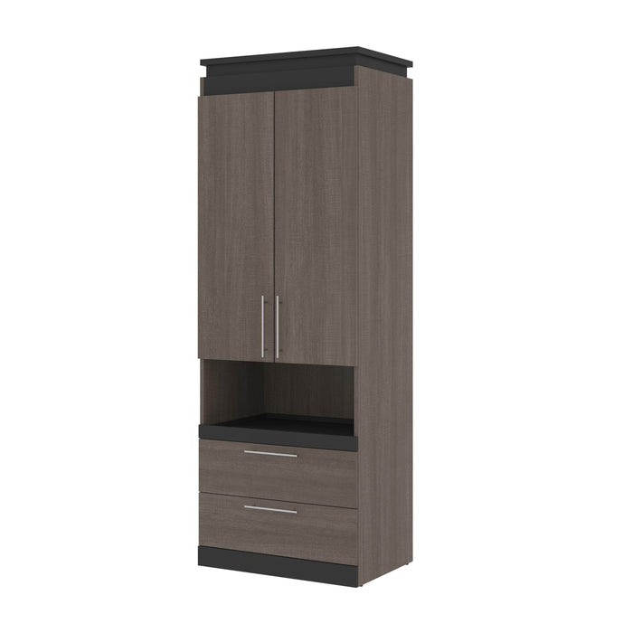 Pending - Bestar Storage Bark Gray & Graphite Orion 30W Storage Cabinet With Pull-Out Shelf - Available in 2 Colors