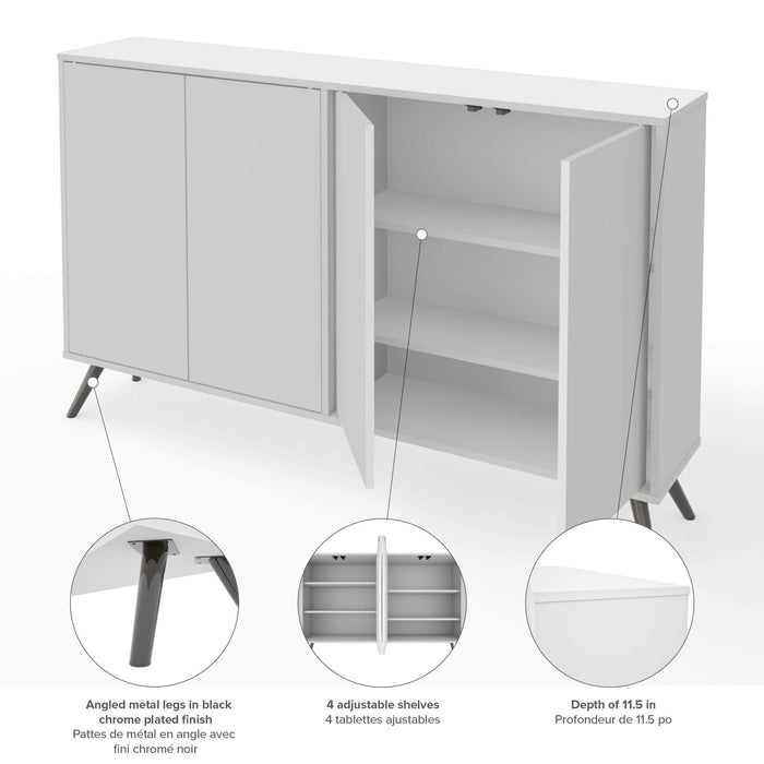 "Pending - Bestar Storage Cabinet White Krom 60"" Storage Cabinet with Metal Legs - White"