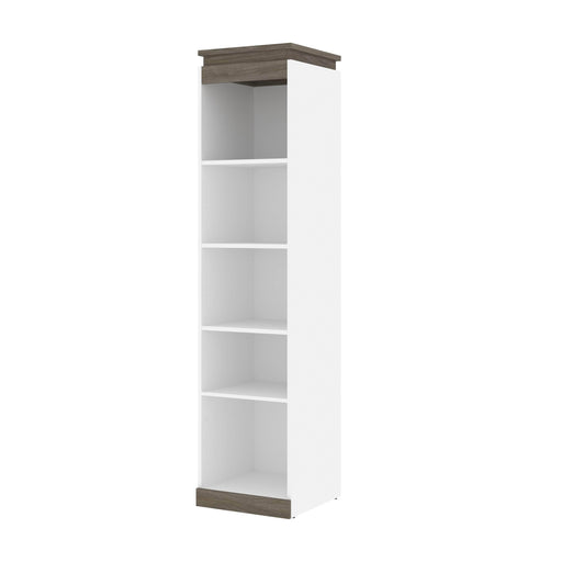 Pending - Bestar Storage White & Walnut Grey Orion 20W Narrow Shelving Unit - Available in 2 Colors