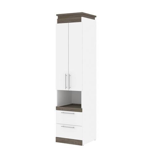 Pending - Bestar Storage White & Walnut Grey Orion 20W Storage Cabinet With Pull-Out Shelf - Available in 2 Colors
