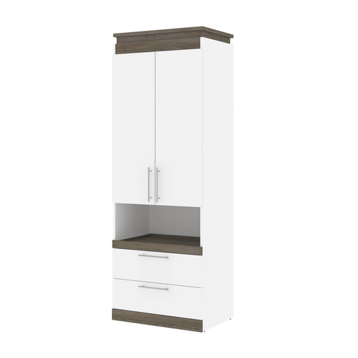 Pending - Bestar Storage White & Walnut Grey Orion 30W Storage Cabinet With Pull-Out Shelf - Available in 2 Colors