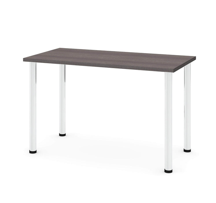 "Pending - Bestar Table Desk Bark Grey Universel 24"" x 48"" Table Desk with Round Metal Legs - Available in 9 Colours"