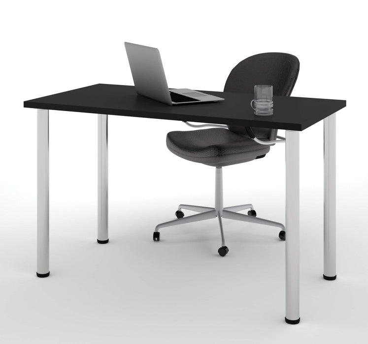 "Pending - Bestar Table Desk Black Universel 24"" x 48"" Table Desk with Round Metal Legs - Available in 9 Colours"