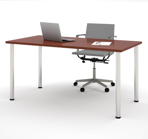 "Pending - Bestar Table Desk Bordeaux Universel 30"" x 60"" Table Desk with Round Metal Legs - Available in 7 Colours"