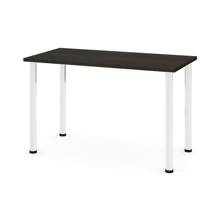 "Pending - Bestar Table Desk Deep Grey Universel 24"" x 48"" Table Desk with Round Metal Legs - Available in 9 Colours"