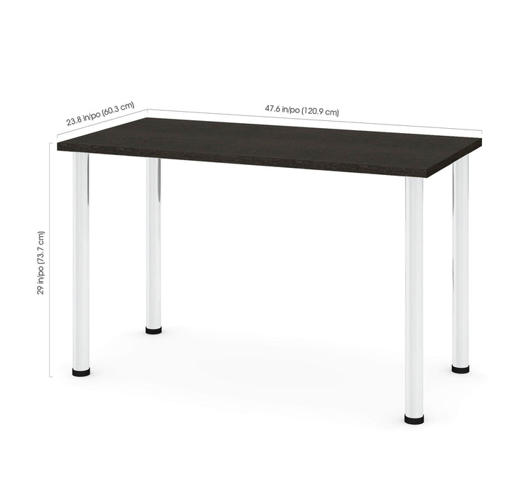 "Pending - Bestar Table Desk Universel 24"" x 48"" Table Desk with Round Metal Legs - Available in 9 Colours"