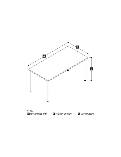 "Pending - Bestar Table Desk Universel 30"" x 60"" Table Desk with Round Metal Legs - Available in 7 Colours"