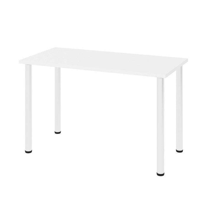 "Pending - Bestar Table Desk White Universel 24"" x 48"" Table Desk with Round Metal Legs - Available in 9 Colours"