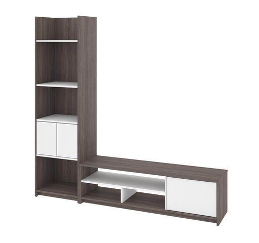 Pending - Bestar TV Stand Bark Grey & White Small Space 2-Piece set including a shelving unit and a TV stand - Bark Grey & White