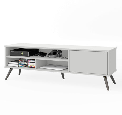 "Pending - Bestar TV Stand White Krom 54W TV Stand With Metal Legs For 60"" TV - Available in 2 Colors"