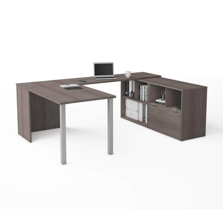 Pending - Bestar U-Desk Bark Grey i3 Plus U-Shaped Executive Desk - Available in 2 Colours