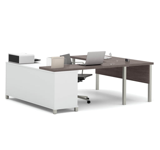 Pending - Bestar U-Desk Bark Grey Pro-Linea U-Shaped Executive Desk - Bark Grey