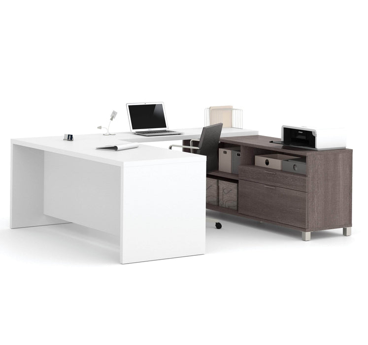 Pending - Bestar U-Desk Bark Grey & White Pro-Linea U-Shaped Executive Desk - Available in 2 Colours