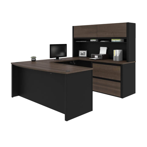 Pending - Bestar U-Desk Connexion U-Shaped Executive Desk with Lateral File Cabinet and Hutch - Available in 3 Colours